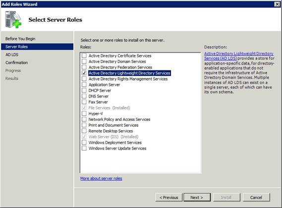 Configuring the Active Directory Lightweight Directory