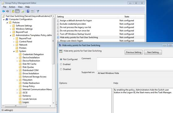 figure 1 group policy setting to disable fast user switching on windows 7