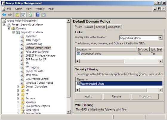 group policy filtering disabled (gpo)