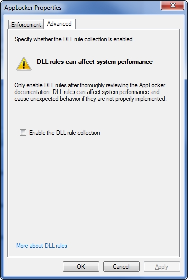 Figure 4: The Advanced tab gives you the option of enabling the DLL rules collection