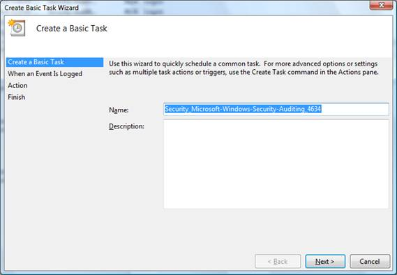 attaching tasks to event viewer logs and events