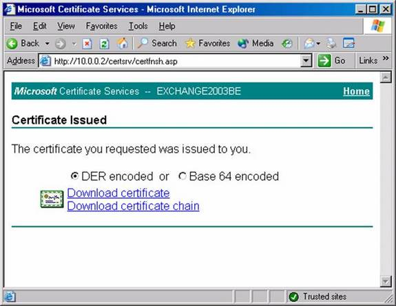 Using client certificate authentication with iis 60 web sites on the certificate issued page click the download certificate link yadclub Image collections