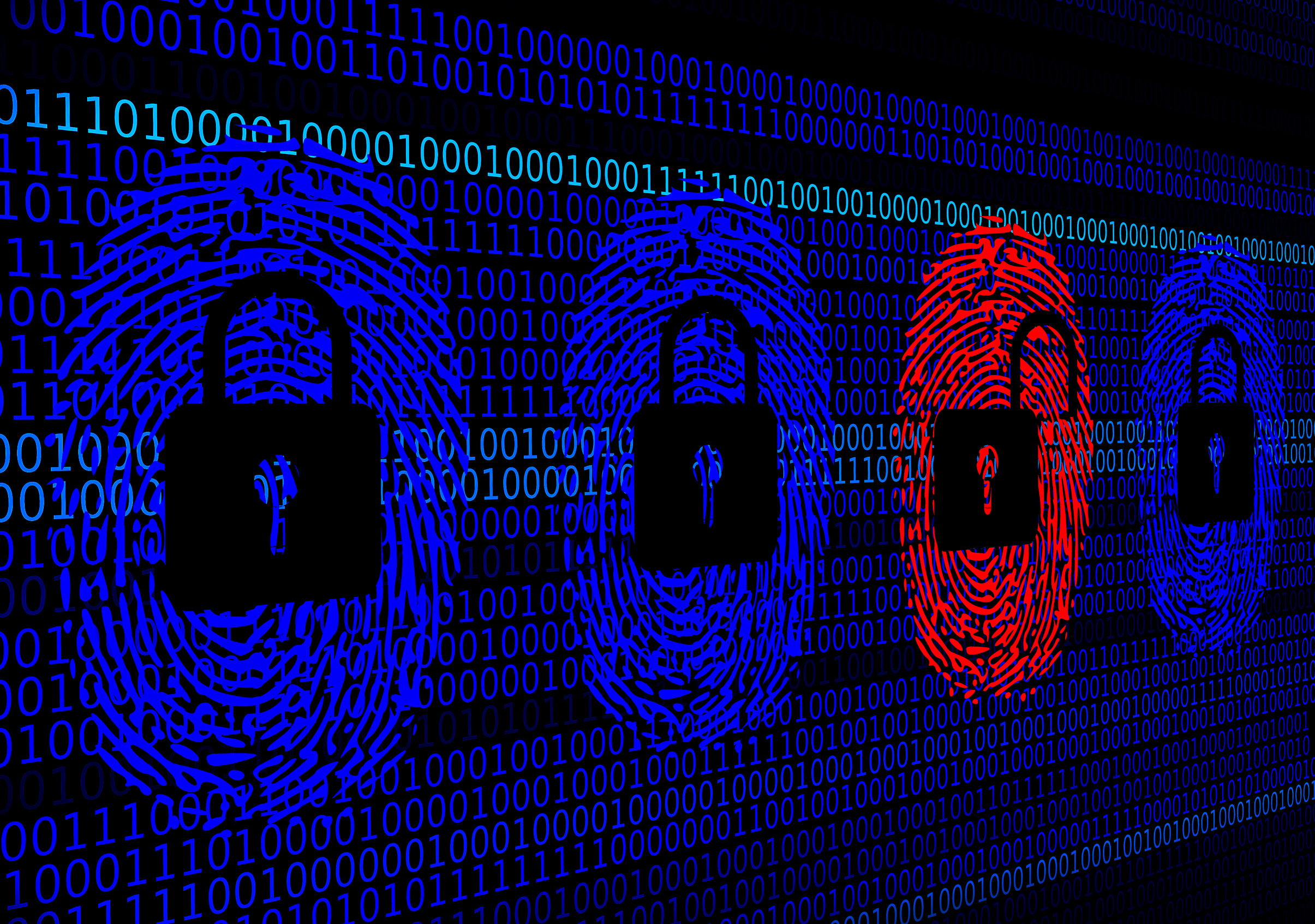 Cybersecurity concept - Open and closed locks with digital fingerprints from an hacker