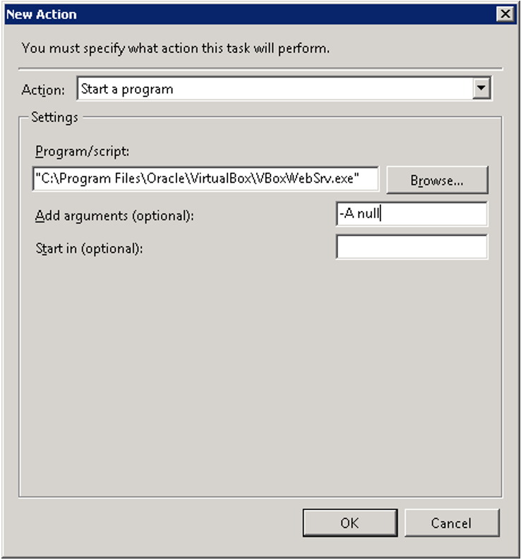 New action for VirtualBox