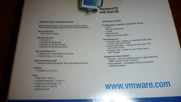 VMware 2.0 supported features