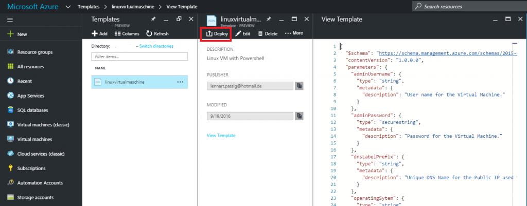 Deploy or edit template in Azure