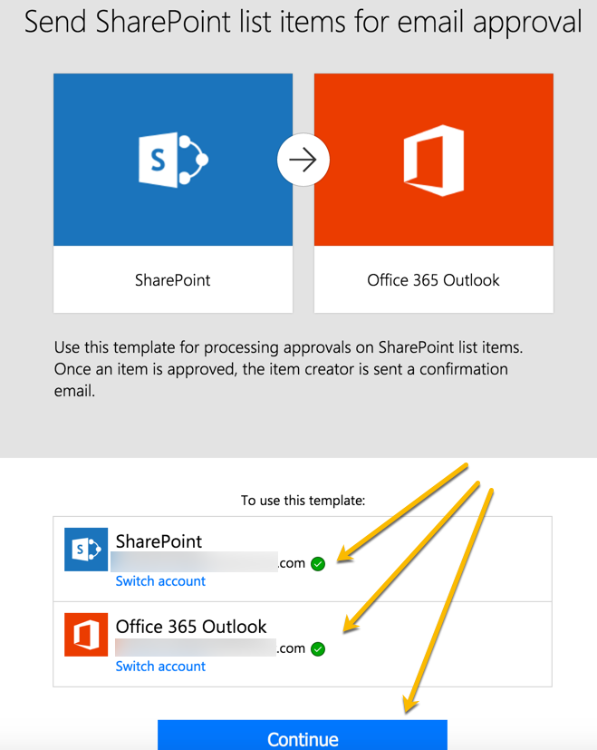 Grant permissions to connect to your Sharepoint and email