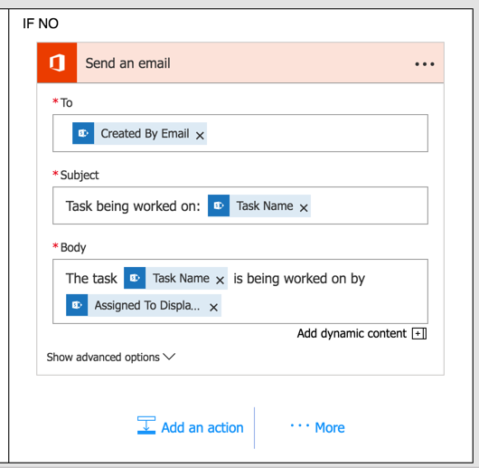 """Set up a different email template as the """"no"""" action"""
