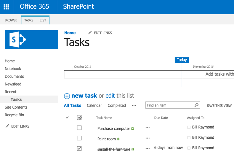 The task is updated in Sharepoint