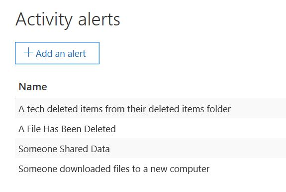 List of configured Alerts in Office 365