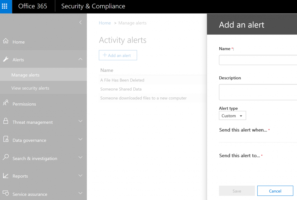 How to add an alert in Office 365