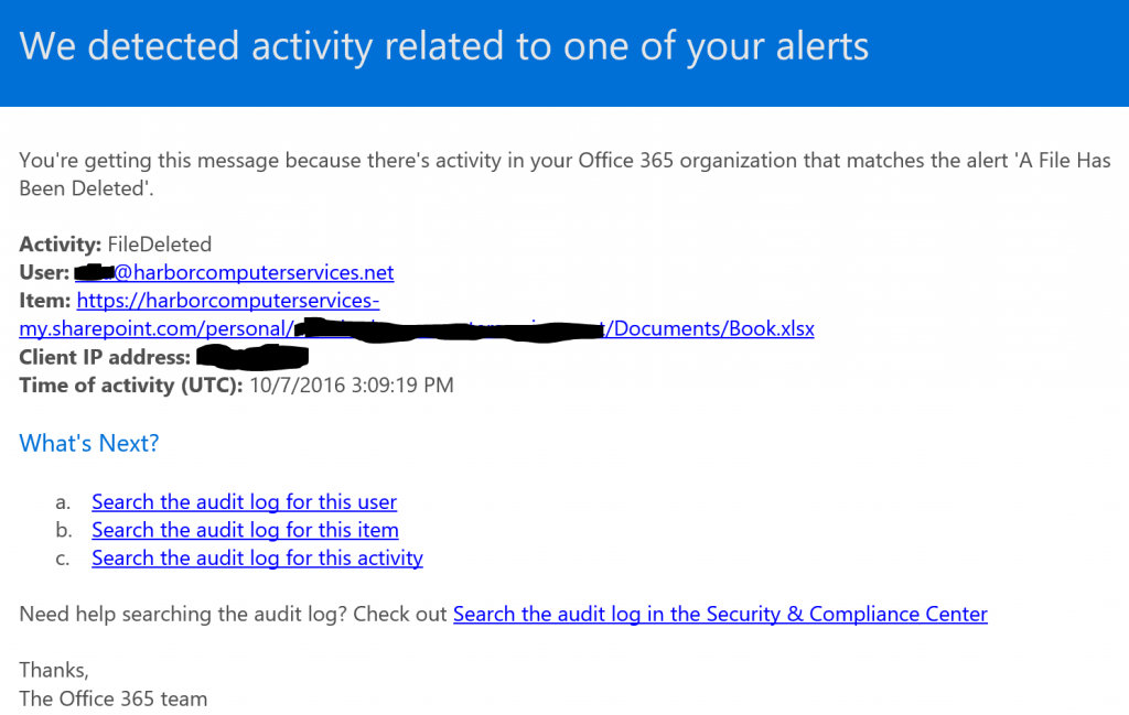 Example of alert email from Office 365