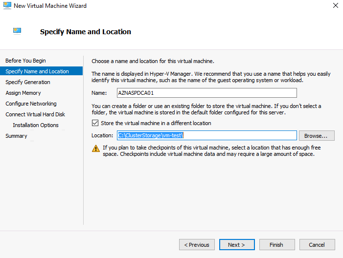 Create new virtual machine in Failover Cluster Manager
