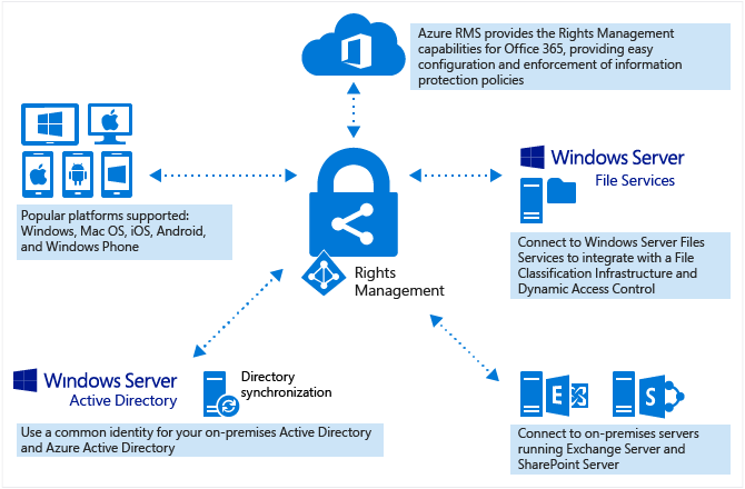 How Azure Rights Management (RMS) works with various services