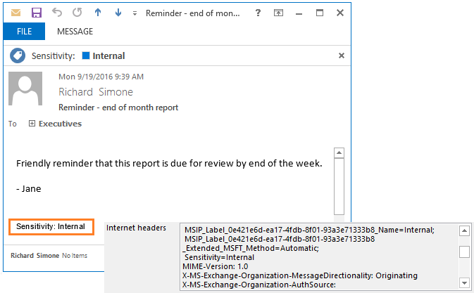 Azure Information Protection sensitivity classification example in an email