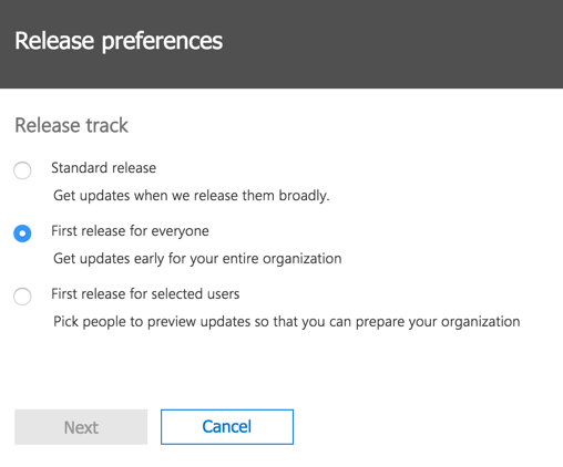Office 365 update release preferences