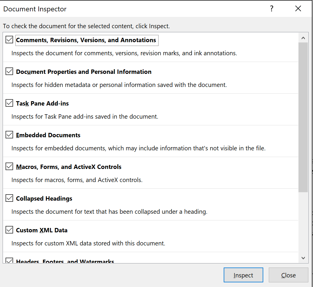 select the docx personal information removal types