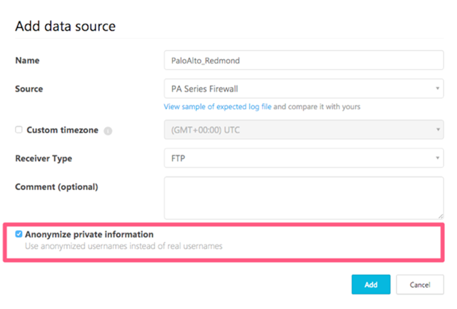 Anonymize private information from data source