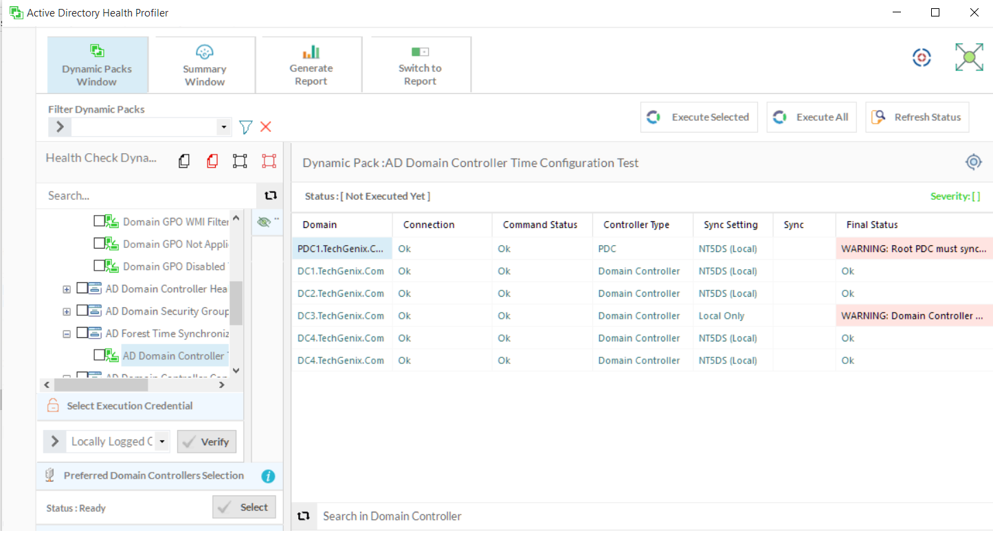 Time Configuration of Domain Controllers in AD Health Profiler