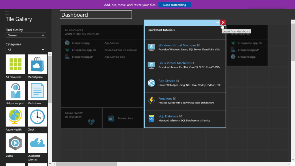 Managing tiles on the Azure Dashboard