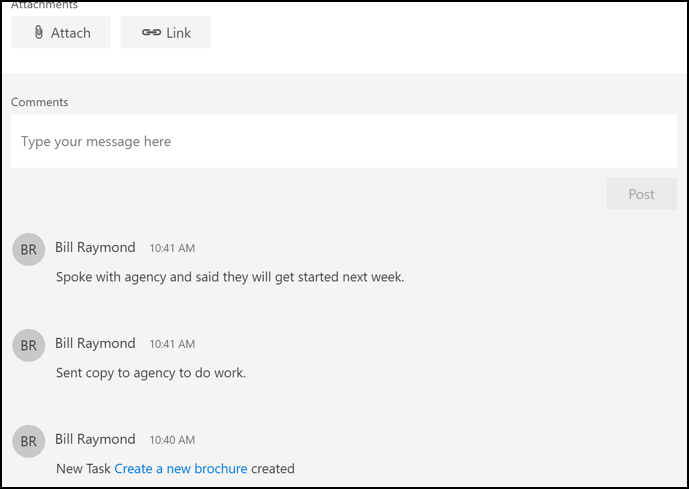 Comments can be added to tasks
