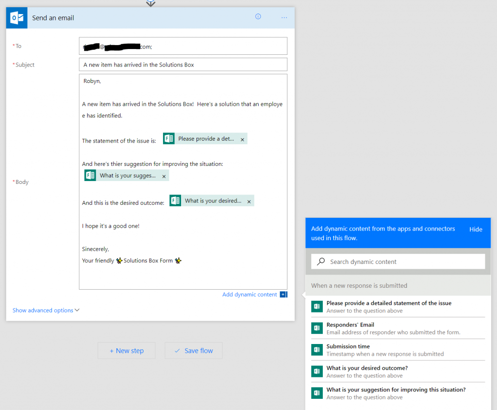 Compose the notification email template with dynamic content