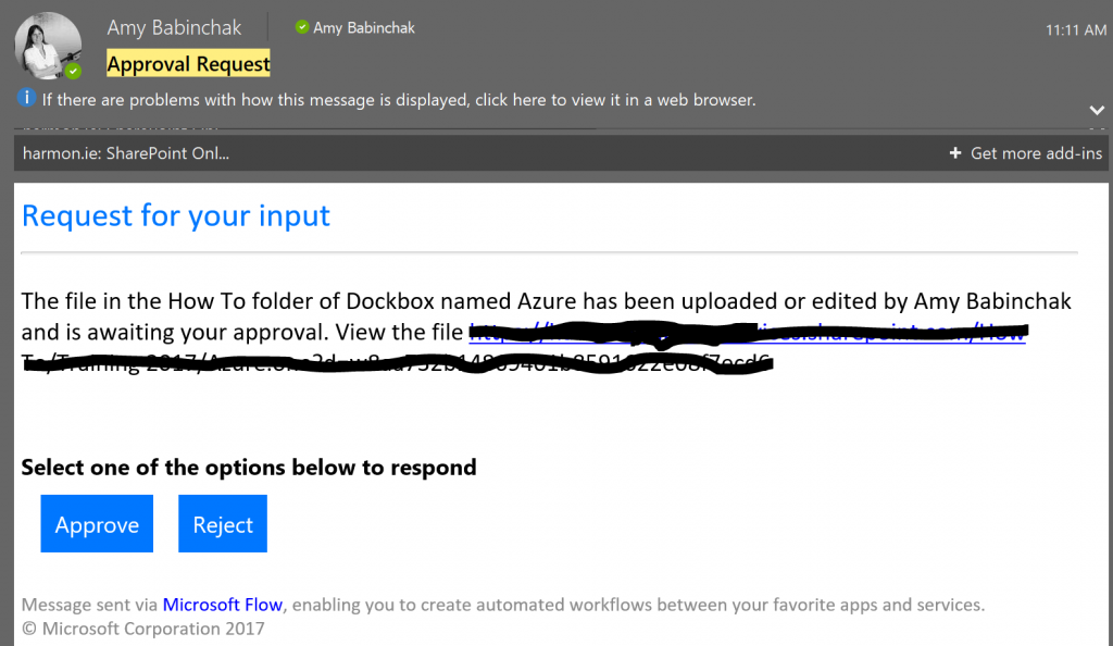 Document approval email generated via Microsoft Flow