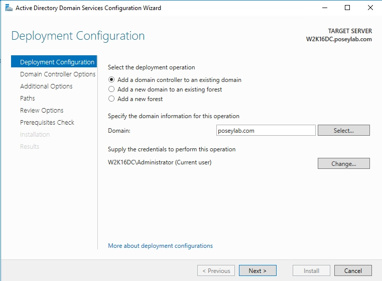 Add the domain controller to an existing domain