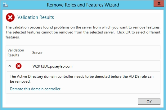 Demote the old domain controllers