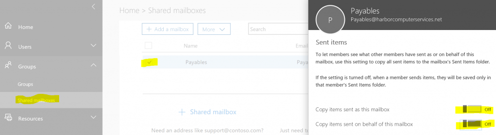 Shared Mailbox items sent settings