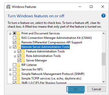 Enable or disable RSAT tools under Windows Features