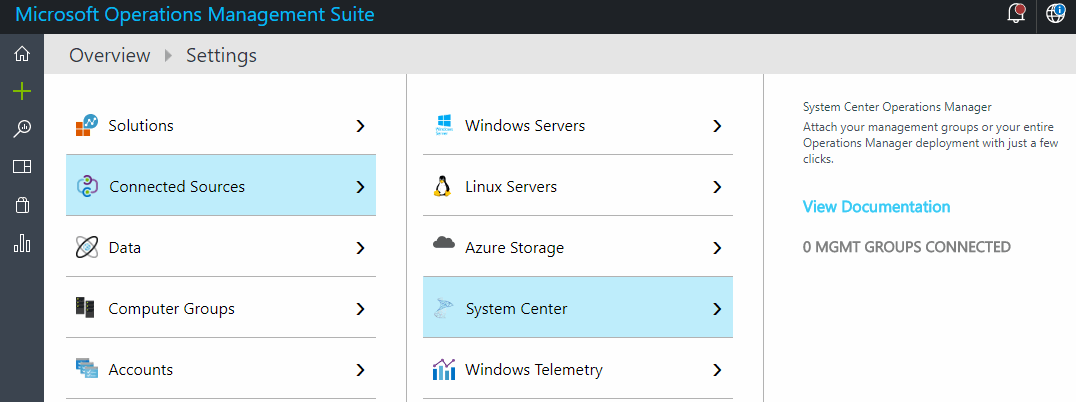 Attached management groups appear under connected sources