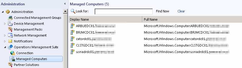 All computers reporting to OMS will be listed under Managed Computers
