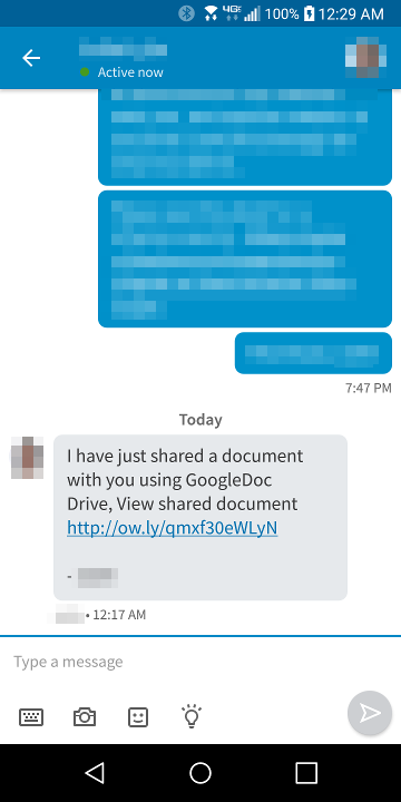 Example fake LikedIn message with malicious link