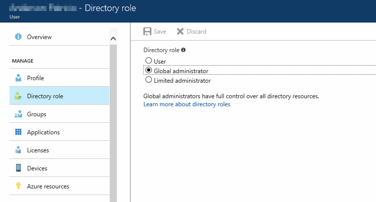 Check that the individual directory role associated to the user is global administrator