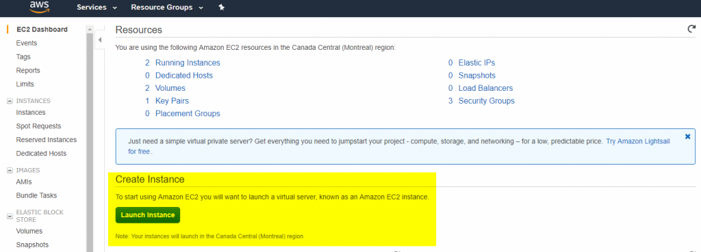 Launch new EC2 instance