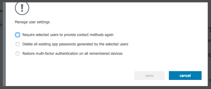 Manage user settings