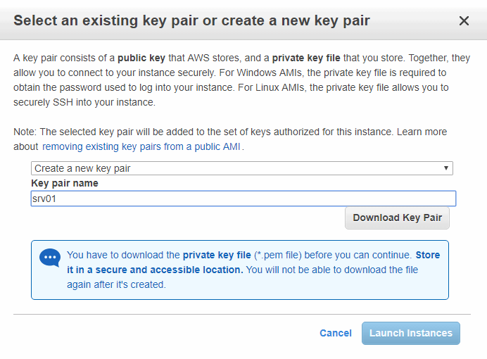 Select an existing key pair or create a new key pair to securely connect to your instance