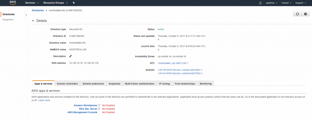 A summary of the AWS Directory Service