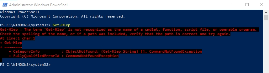 powershell error: term is not recognized as the name of a cmdlet