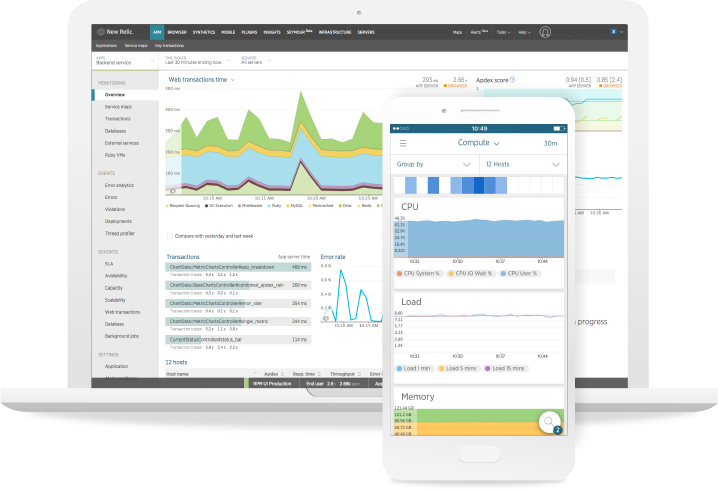 New Relic mobile app performance monitoring