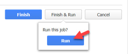 Figure 14. Confirm Finish and Run of the new backup job.