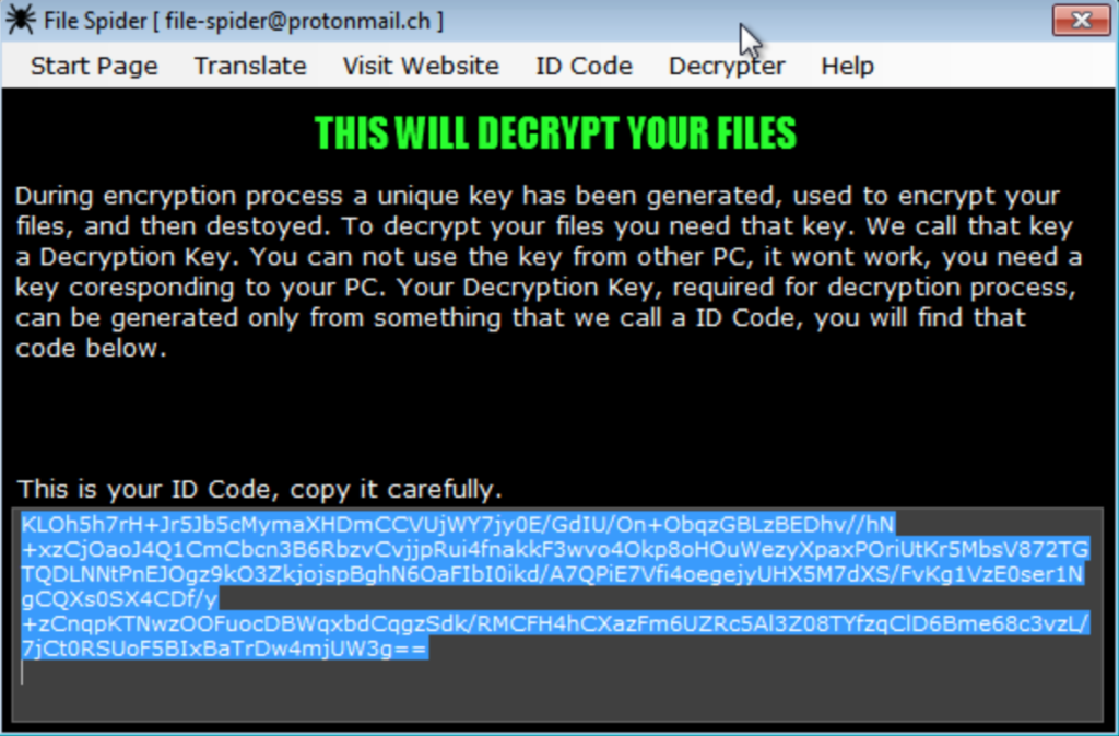 Spider ransomware message