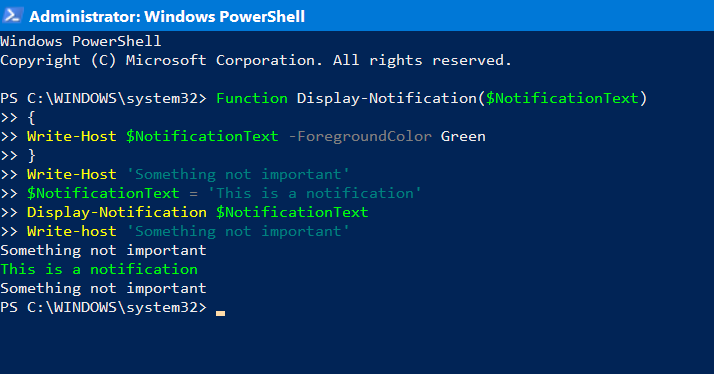 PowerShell output notifications