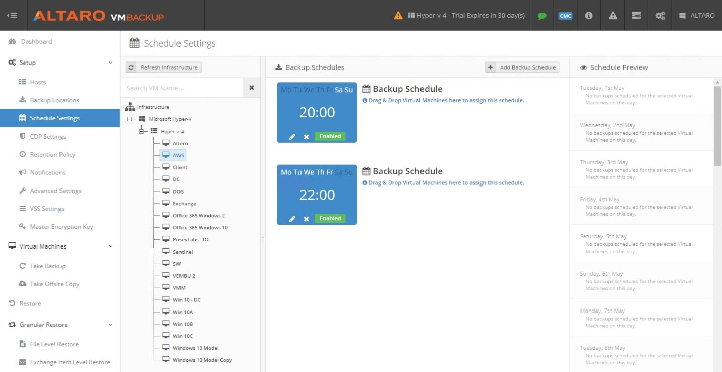 Altaro VM Backup – Schedule Settings