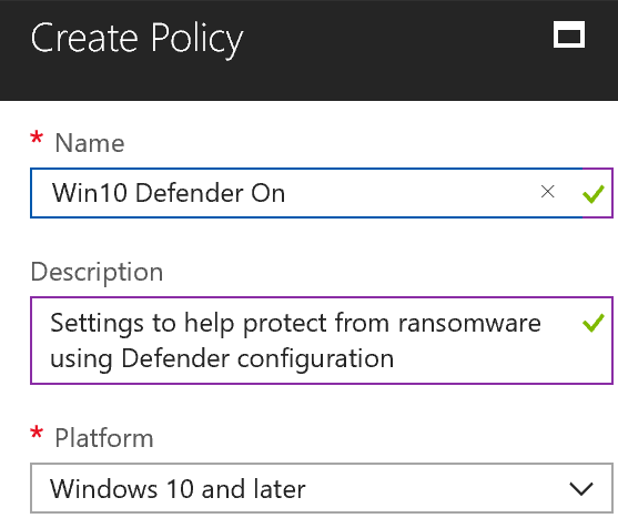 Win10 Defender on policy