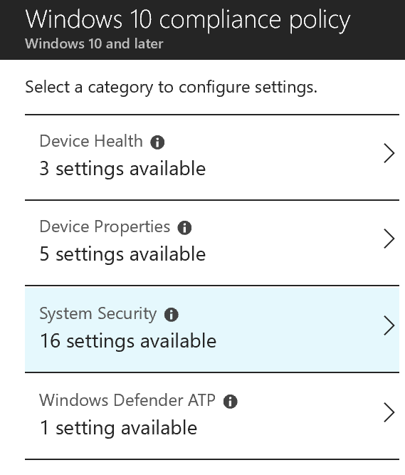 Win10 compliance policy options