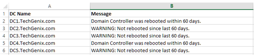Domain Controllers uptime