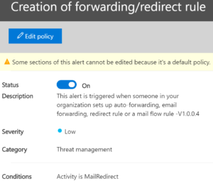 A forwarding rule was set up