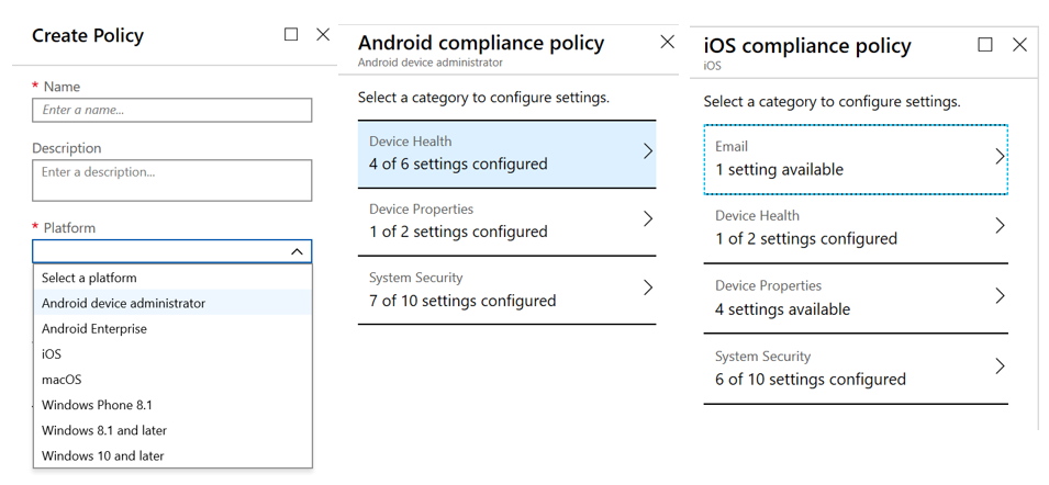Android and iOS complianct policy detail